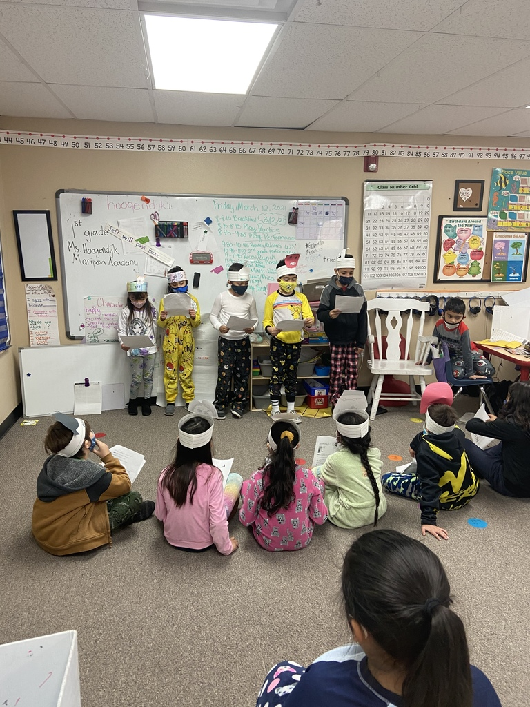 2nd graders presenting  their play to the first graders